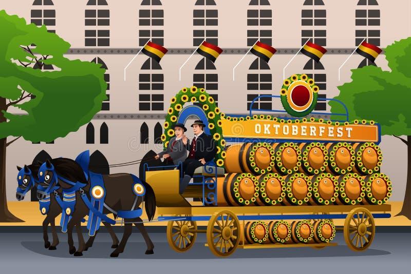 Folk som firar Oktoberfest royaltyfri illustrationer
