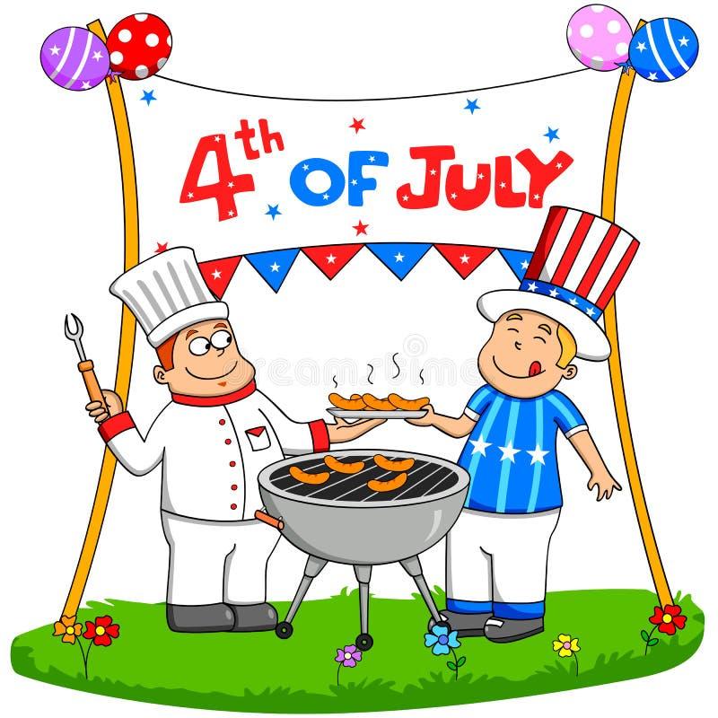 Folk som firar 4th Juli stock illustrationer