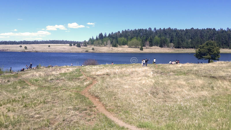 Folk som fiskar och tycker om dagen i en av de åtskilliga sjöarna av registreringen fotografering för bildbyråer