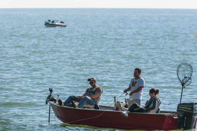 Folk som fiskar på ett fartyg fotografering för bildbyråer