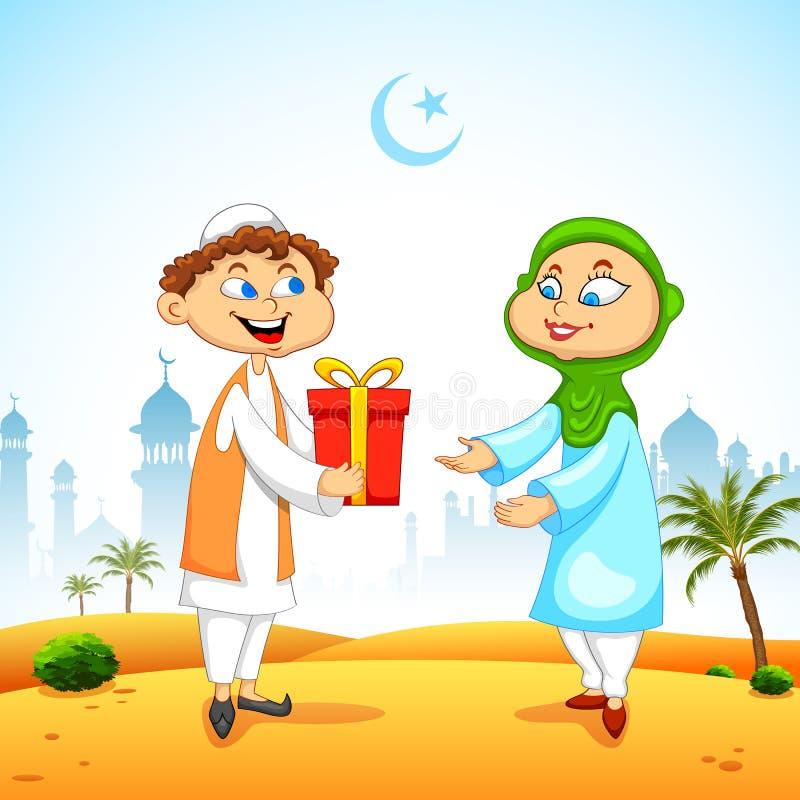 Folk som framlägger gåvan för att fira Eid vektor illustrationer