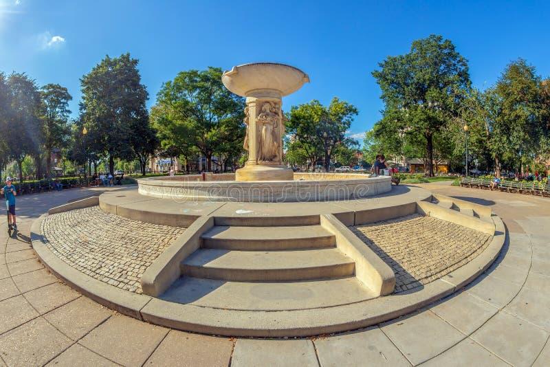 Folk som framme kopplar av av marmorspringbrunnen i den Du Pont cirkeln, Washington DC arkivfoto