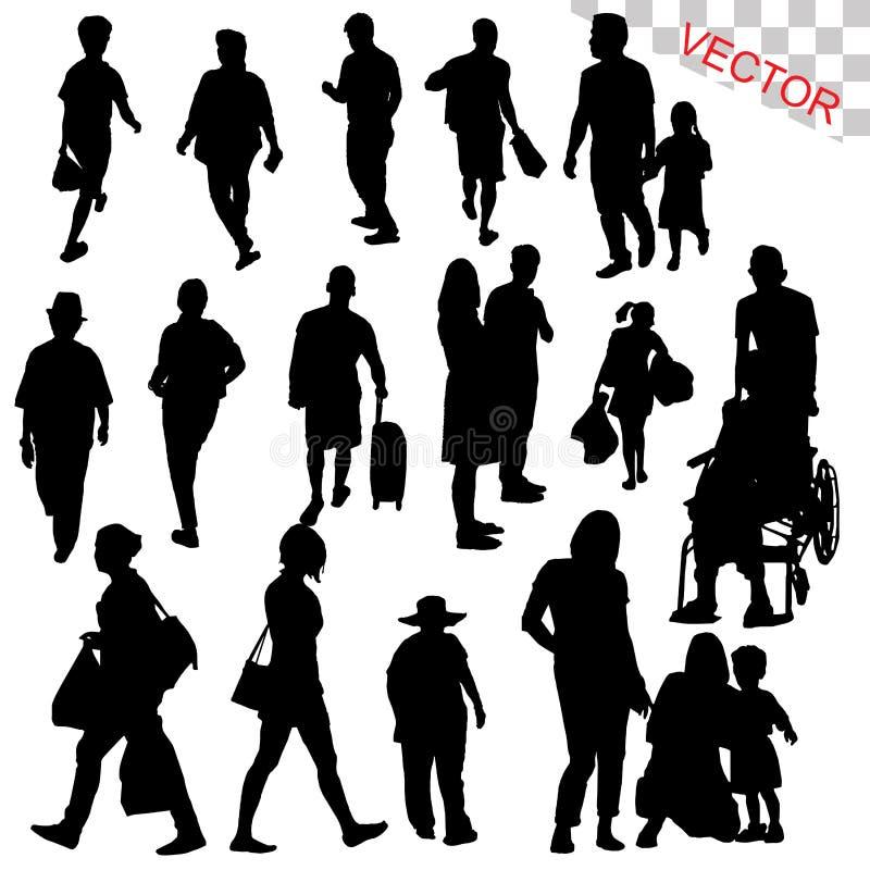 Folk som går den fastställda vektorn för utomhus- konturer stock illustrationer
