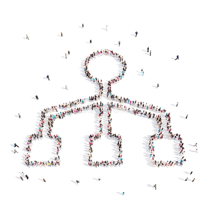 Folk som går i hierarki illustration 3d royaltyfri illustrationer