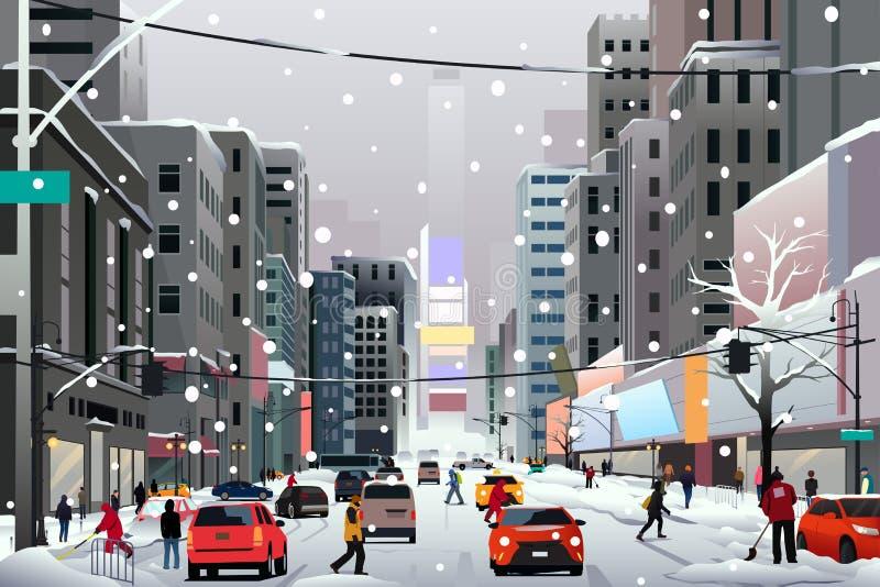 Folk som går i staden under vinterstorm vektor illustrationer