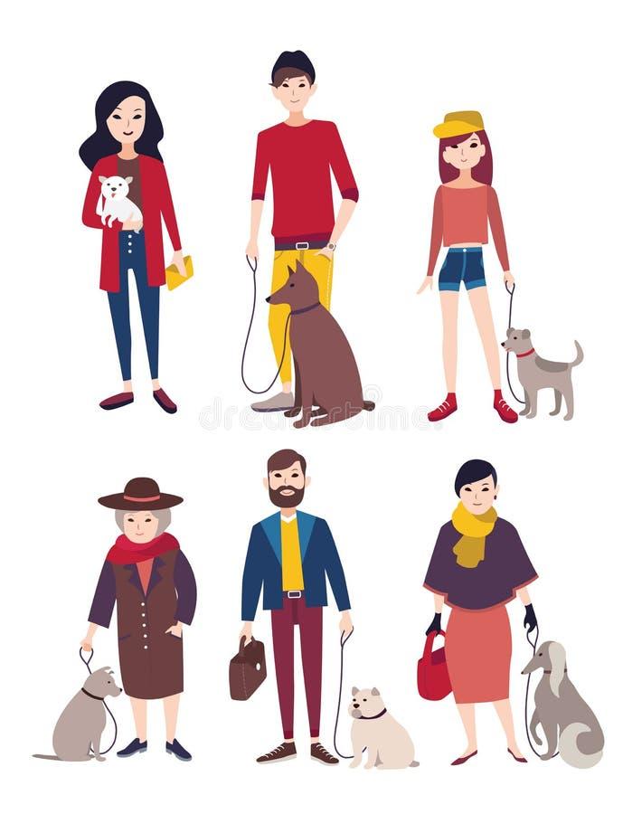 Folk som går med hans hundkapplöpning av olika avel Färgrik plan illustration royaltyfri illustrationer
