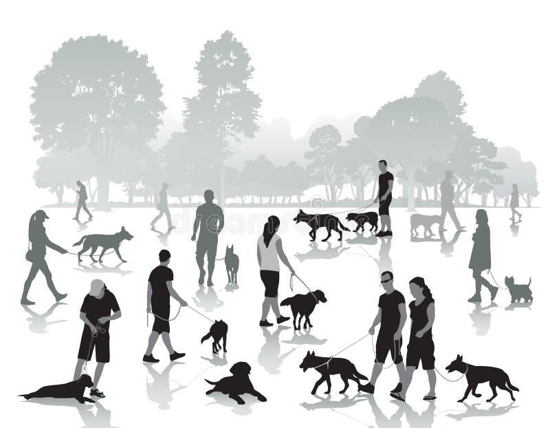 Folk som går med hundkapplöpning royaltyfri illustrationer