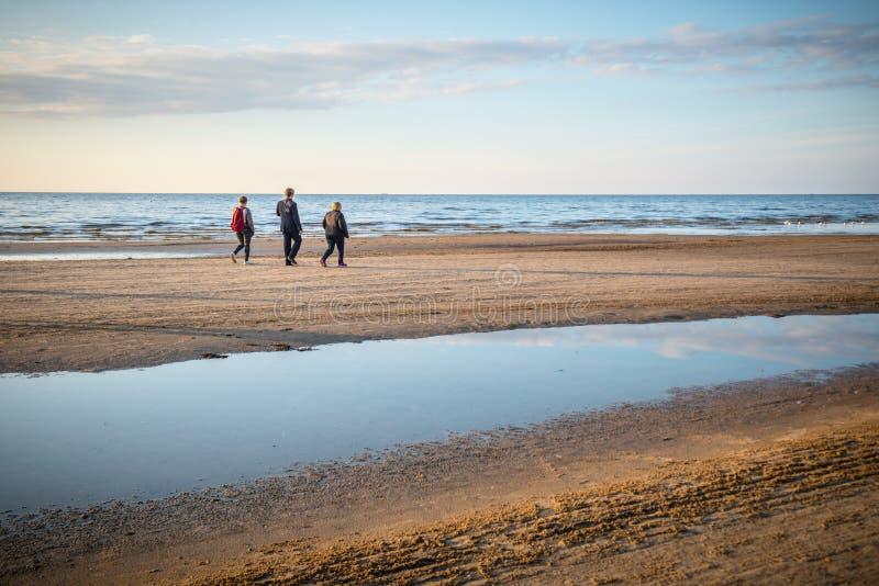 Folk som går på en strand nära havet royaltyfri fotografi