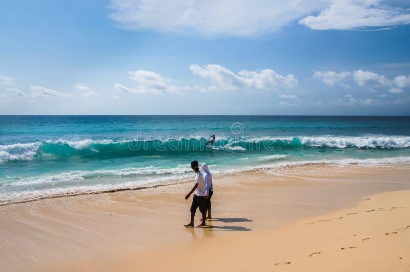 Folk som går på stranden som håller ögonen på en surfareridning på vågen arkivfoton