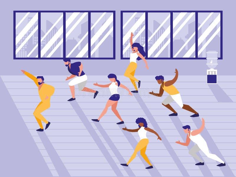 Folk som gör aerobicsavatarteckenet vektor illustrationer