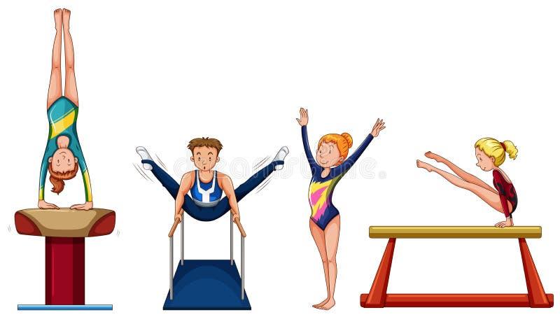Folk som gör gymnastik på olik utrustning stock illustrationer