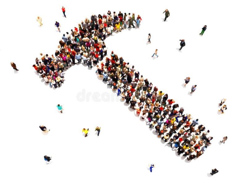 Folk som gör hemförbättringbegrepp Stor grupp människor som går till en form av en hammare på en isolerad vit bakgrund vektor illustrationer