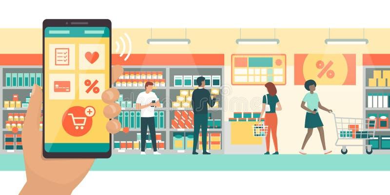Folk som gör livsmedelsbutikshopping genom att använda AR-apps stock illustrationer