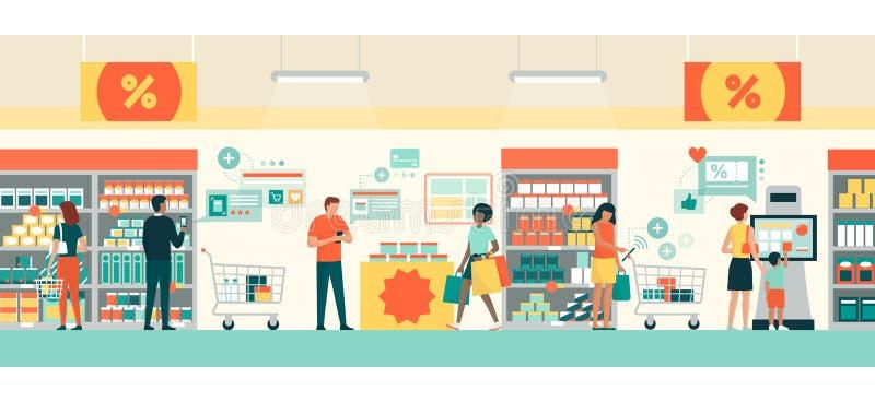 Folk som gör livsmedelsbutikshopping genom att använda AR-apps royaltyfri illustrationer