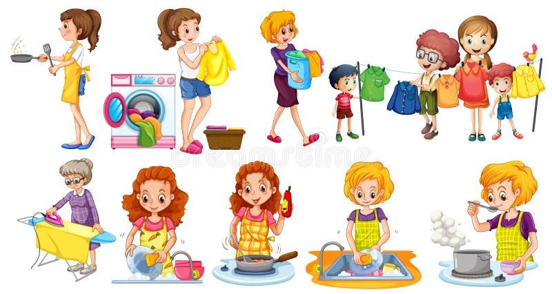Folk som gör olika hushållsarbeten royaltyfri illustrationer