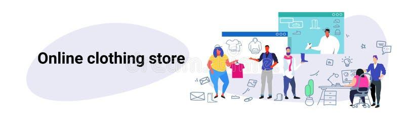 Folk som g?r online-shoppa modemankvinnor som v?ljer objekt genom att anv?nda begrepp e f?r datorprogramkl?dlager stock illustrationer