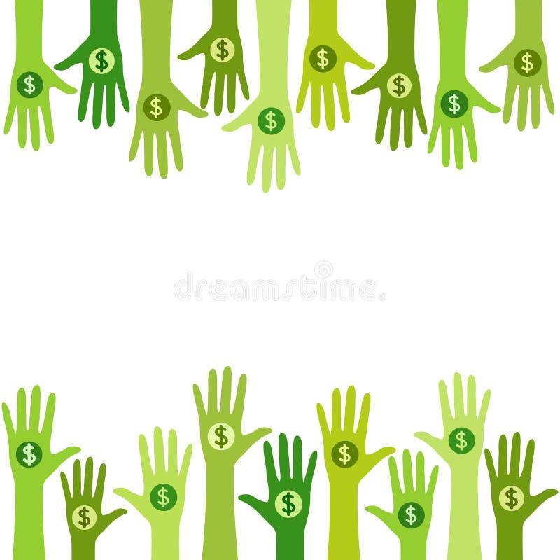 Folk som ger pengar - donation stock illustrationer