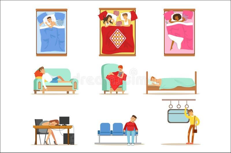 Folk som hemma sover i olika positioner och p? arbete, tr?tta tecken som f?r sova serie av illustrationer royaltyfri illustrationer