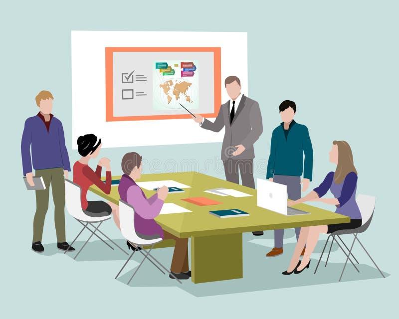 Folk som i regeringsställning talar och arbetar på datorerna Personal runt om tabellen som arbetar med bärbar datorminnestavlan K stock illustrationer