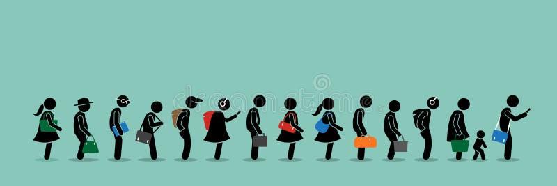 Folk som köar upp i en lång kölinje stock illustrationer