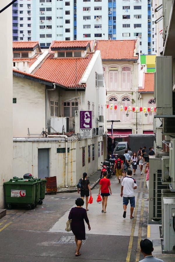 Folk som kommer till marknaden i kineskvarter av Singapore royaltyfri fotografi