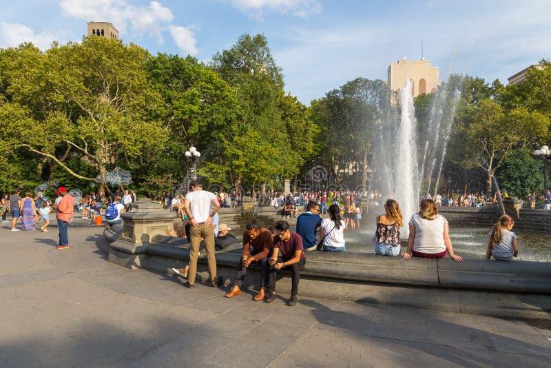 Folk som kopplar av i Washington Square Park i sommar, solig dag royaltyfri bild