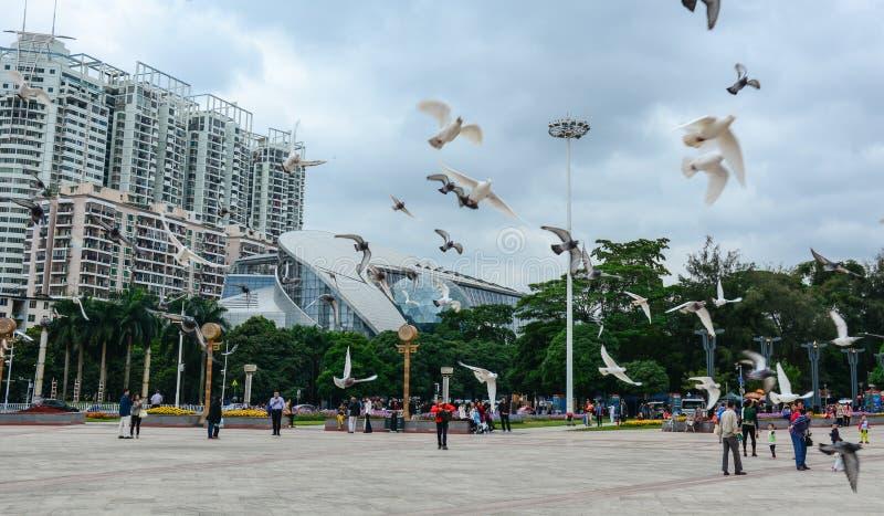 Folk som kopplar av på fyrkanten i Nanning, Kina royaltyfri foto