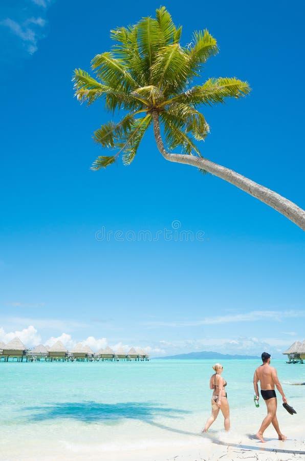 Folk som promenerar den tropiska stranden på Bora Bora royaltyfria foton