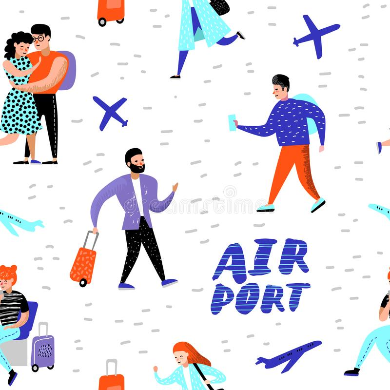 Folk som reser vid den plana sömlösa modellen Tecknad filmtecken med bagage i flygplatsbakgrund för tapet royaltyfri illustrationer