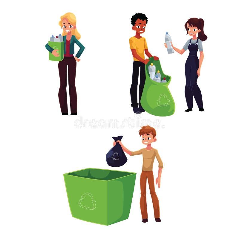 Folk som samlar plast-flaskor, avfalls, avskrädeåtervinningbegrepp royaltyfri illustrationer