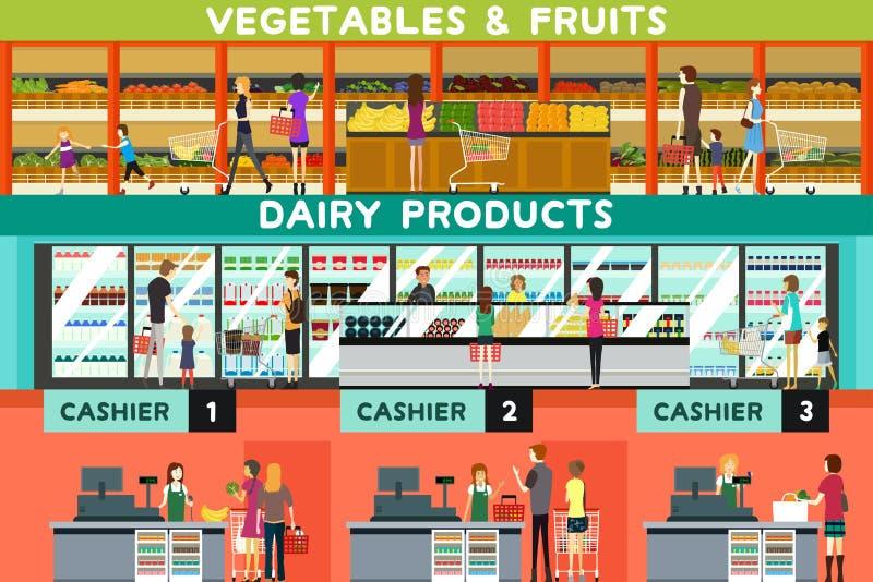 Folk som shoppar i en livsmedelsbutik stock illustrationer