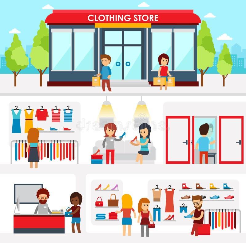 Folk som shoppar i klädlagret Shoppa inre Färgrik vektorillustrationdesign, infographic beståndsdelar, baner stock illustrationer