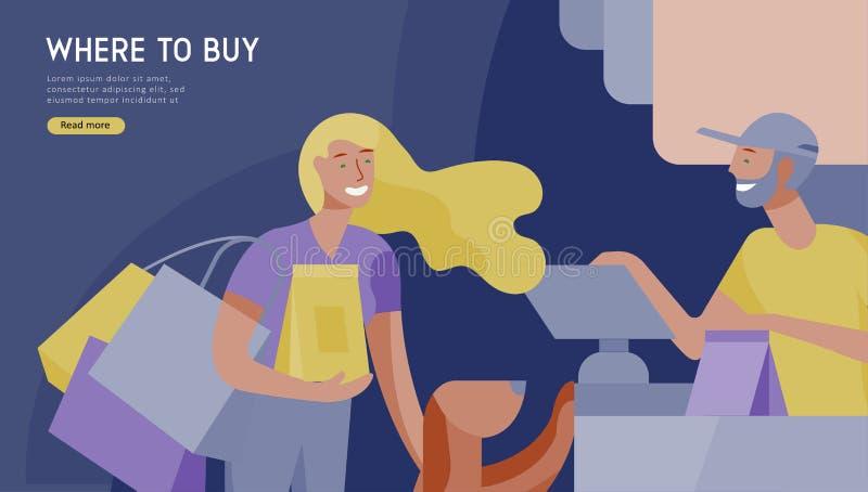 Folk som shoppar i supermarket Kvinna i supermarket med kassörskan, var att köpa begrepp av kunden och att shoppa assistenten stock illustrationer