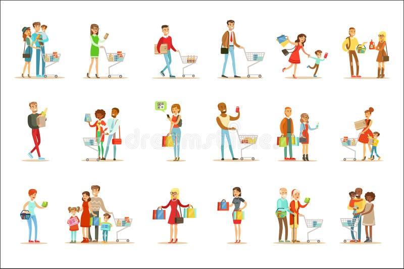 Folk som shoppar i varuhus- och shoppinggalleriauppsättning av tecknad filmtecken som köper produkter, och objekt i shoppa stock illustrationer