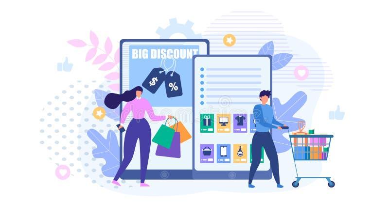 Folk som shoppar online-metafortecknad filmannonsen stock illustrationer