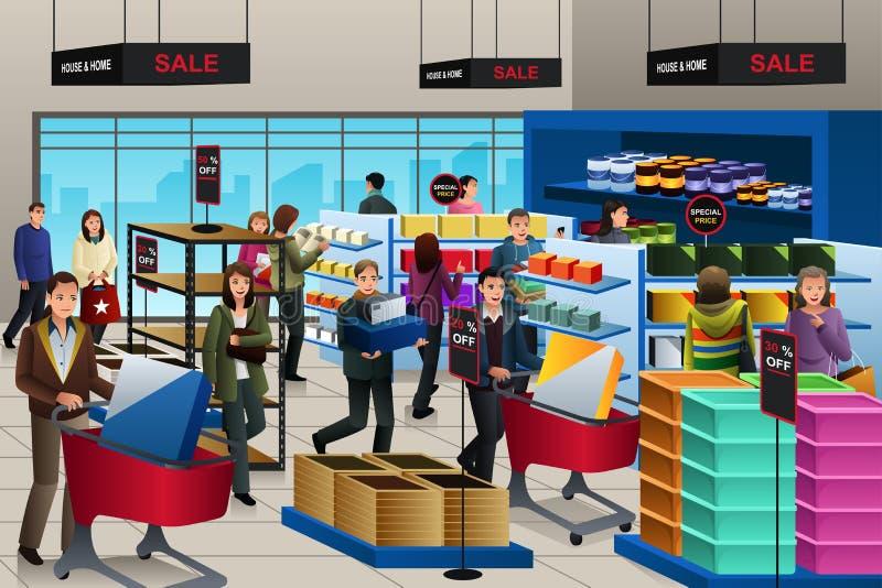 Folk som shoppar på Black Friday stock illustrationer