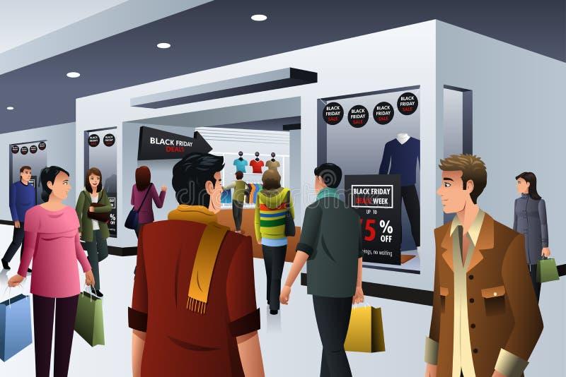 Folk som shoppar på Black Friday royaltyfri illustrationer