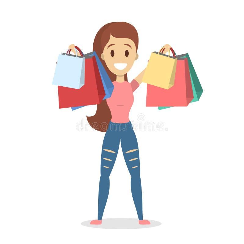 Folk som shoppar uppsättningen royaltyfri illustrationer