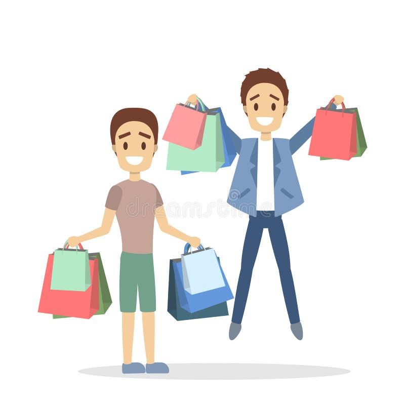 Folk som shoppar uppsättningen vektor illustrationer