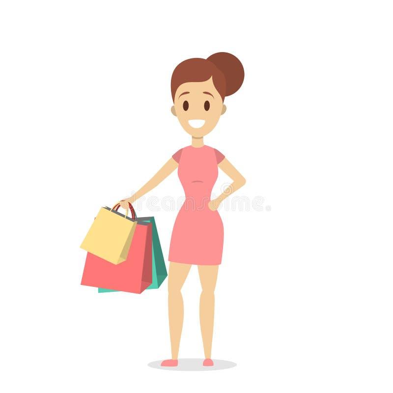 Folk som shoppar uppsättningen stock illustrationer