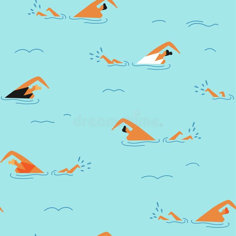 Folk som simmar i den sömlösa modellen för hav royaltyfri illustrationer