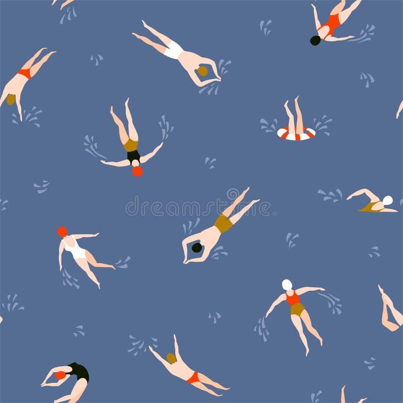 Folk som simmar modellen seamless sommar för bakgrund Sommartidvektorillustration med simmare stock illustrationer