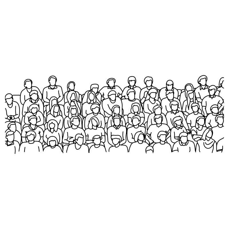 Folk som sitter på stadion för att hurra ske för sportvektorillustration royaltyfri illustrationer