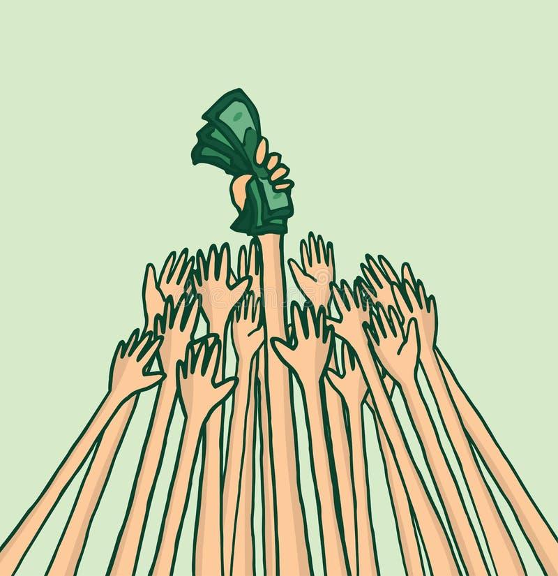 Folk som slåss över affärspengar stock illustrationer