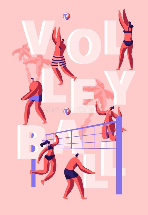Folk som spelar affischen för strandvolleyboll Begrepp för utomhus- aktiv sport för sommar modigt Flicka med bolllufthopp Stilig  royaltyfri illustrationer