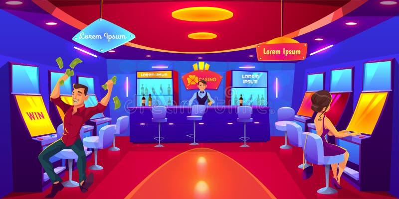 Folk som spelar i kasinot som spelar p? enarmade banditer stock illustrationer