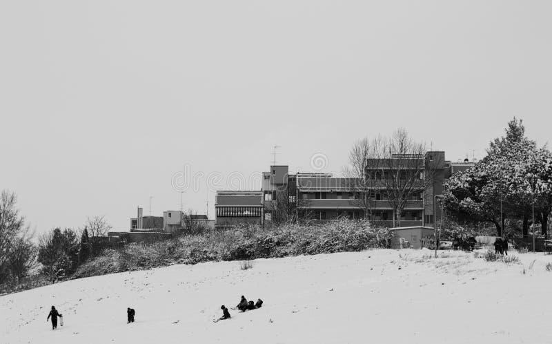 Folk som spelar på snön arkivfoto