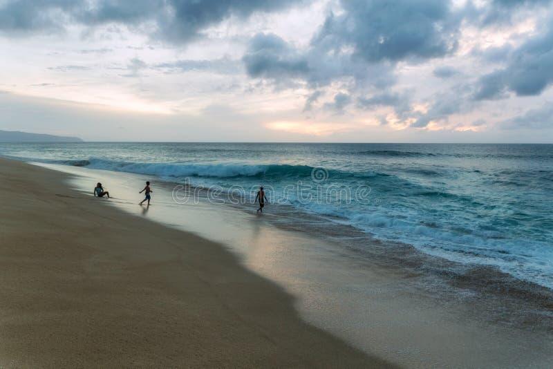 Folk som spelar på stranden med stora vågor på den norr kusten av Oahu arkivbild