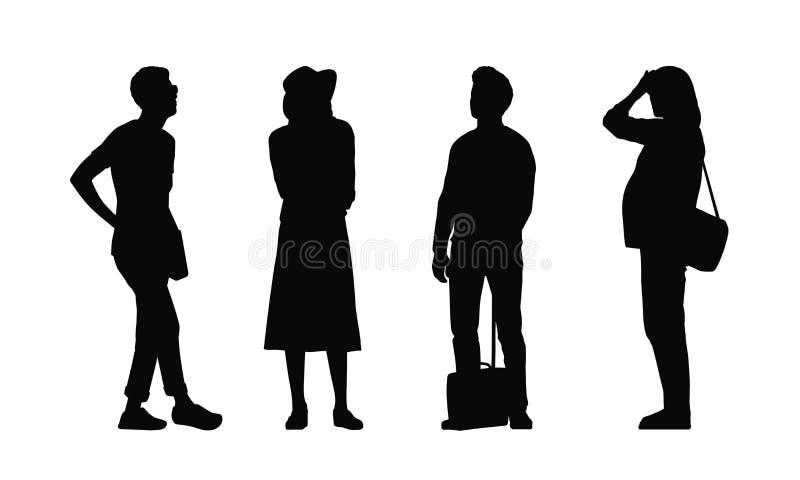 Folk som står utomhus- konturuppsättning 33 royaltyfri foto