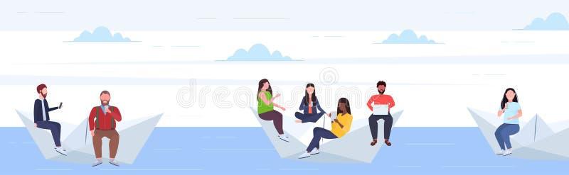 Folk som svävar på pappers- kvinnor för män för fartygblandninglopp som använder grejer som tillsammans reser den digitala böjels stock illustrationer
